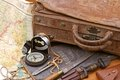 Travel and adventure suitcase Royalty Free Stock Photo