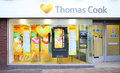 Travel agents shop front thomas cook agent store advertising latest deals for holidays vacations wolverhampton high street uk Stock Photos