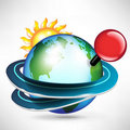 Travel around the globe with red pin mark Royalty Free Stock Photo