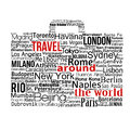 Travel around the world concept made with words drawing a suitcase vector illustration Stock Photos