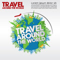 Travel around the world conceptual illustration vector eps Royalty Free Stock Image