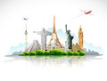Travel around the world illustration of famous monument with airplane Royalty Free Stock Image