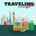 Travel around the world poster. Tourism and vacation, earth world, journey global, vector illustration. World travel