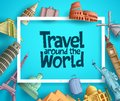 Travel around the world vector banner template design with frame