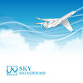 Travel background with airplane and white clouds this is file of eps format Stock Images