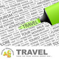 Travel background concept wordcloud illustration print concept word cloud graphic collage Royalty Free Stock Photography
