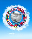 Travel background. Globe with a plane and a circle of flags Royalty Free Stock Photo