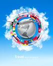 Travel background. Globe with a plane and a circle of flags. Royalty Free Stock Photo