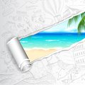 Travel background for sea beach illustration of view in doodle paper Stock Photos