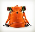 Travel backpack orange illustration on white background Royalty Free Stock Images