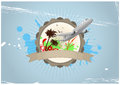 Travel badge illustration of with airplane and palm Royalty Free Stock Image