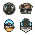 Travel badges and stickers with hike themed design elemets Royalty Free Stock Photo
