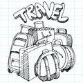 Travel Bag Drawing Stock Photo