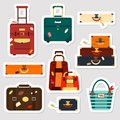 Travel bags stickers and patches collection vector illustration. Set business voyage packing, handle trip baggage