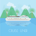Travel banner with cruise liner. Time to travel around the world on cruise ship. Illustration in flat style.