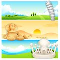 Travel banner illustration of of with world famous monument Stock Images