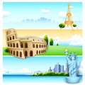 Travel banner illustration of of with world famous monument Stock Photography