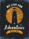 Travel banner with lighthouse and inscription Royalty Free Stock Photo