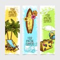Travel banner set vertical with sketch palm surfing board and suitcase isolated vector illustration Royalty Free Stock Photos
