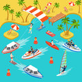 Travel beach resort vacation sea surf flat 3d isometric vector