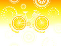 Travel bicycle postcard over festive circles Royalty Free Stock Image