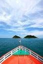 Travel boat heading to Thailand sea Royalty Free Stock Photo