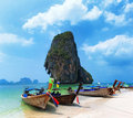 Travel boat on Thailand island beach. Tropical coast Asia landscape background Royalty Free Stock Photo
