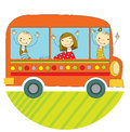 Travel by bus children around the world Stock Photo
