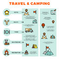 Travel and camping colorful infographic with line icons