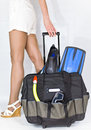 Travel case with set subaqueous navigation Royalty Free Stock Image