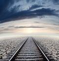 Travel concept anad railway sunset dreamscape Stock Photos