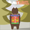 Travel concept illustration with hiker bear traveler with backpack going to mountains back view trendy art design Stock Photo