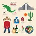 Travel concept mexico landmark flat icons design vector illustration Royalty Free Stock Photo