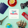 Travel concept mock up design objects related to travel and tourism around blank paper view from above Royalty Free Stock Photos