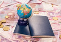 Travel concept the money globe and passports Stock Images