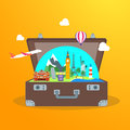 Travel Concept with Open Suitcase. Vector Royalty Free Stock Photo