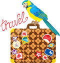 Travel concept suitcase with journey stickers an and parrot isolated on white background Stock Images