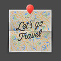 Travel concept. Text - let is go travel on the map seamless background Royalty Free Stock Photo
