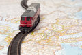 Travel concept toy train on the map Royalty Free Stock Photography