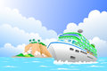 Travel concept a vector illustration of luxury cruise ship in the sea for Royalty Free Stock Images