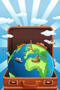 Travel concept a vector illustration of suitcase with globe in it for Stock Photos