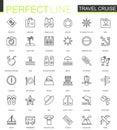 Travel cruise thin line web icons set. Outline stroke icon design.