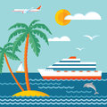 Travel cruise - vector concept illustration in flat style design. Cruise liner.