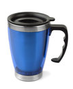 Travel cup blue thermal isolated on white Royalty Free Stock Images