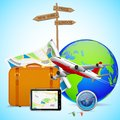 Travel design vector illustration of luggage and flying airplane around globe Royalty Free Stock Photos