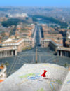 Travel destination Rome map push pin blur Royalty Free Stock Photo
