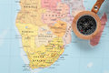 Travel destination south africa map with compass on a pointing at and planning a Stock Images