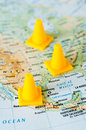 Travel destination traveling concept yellow marks on the map of the usa pointing the route Stock Photo