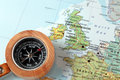 Travel destination united kingdom and ireland map with compass on a pointing at planning a Royalty Free Stock Photography