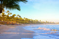Travel destinations sunrise over tropical beach Royalty Free Stock Image